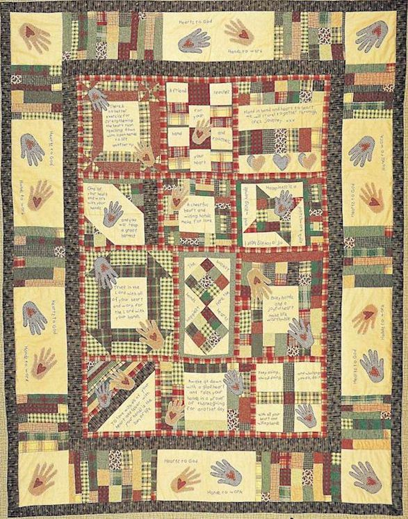 Hand Quilting Heart Patterns : Quilt pattern Heart and Hand with primitive inspirational stitchery and folk art quilts