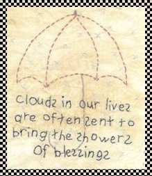 Showers of blessings primitive inspirational stitchery