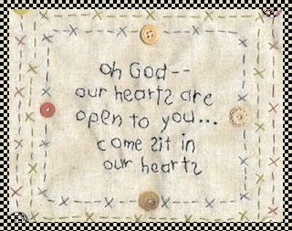 Open our hearts primitive inspirational stitchery