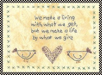 We make a living primitive inspirational stitchery