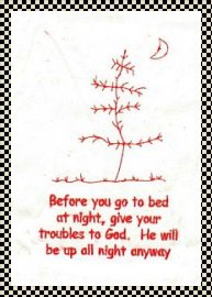 Give your troubles to God primitive stitchery