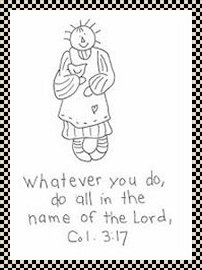 Do all in the name of the Lord primitive stitchery pattern